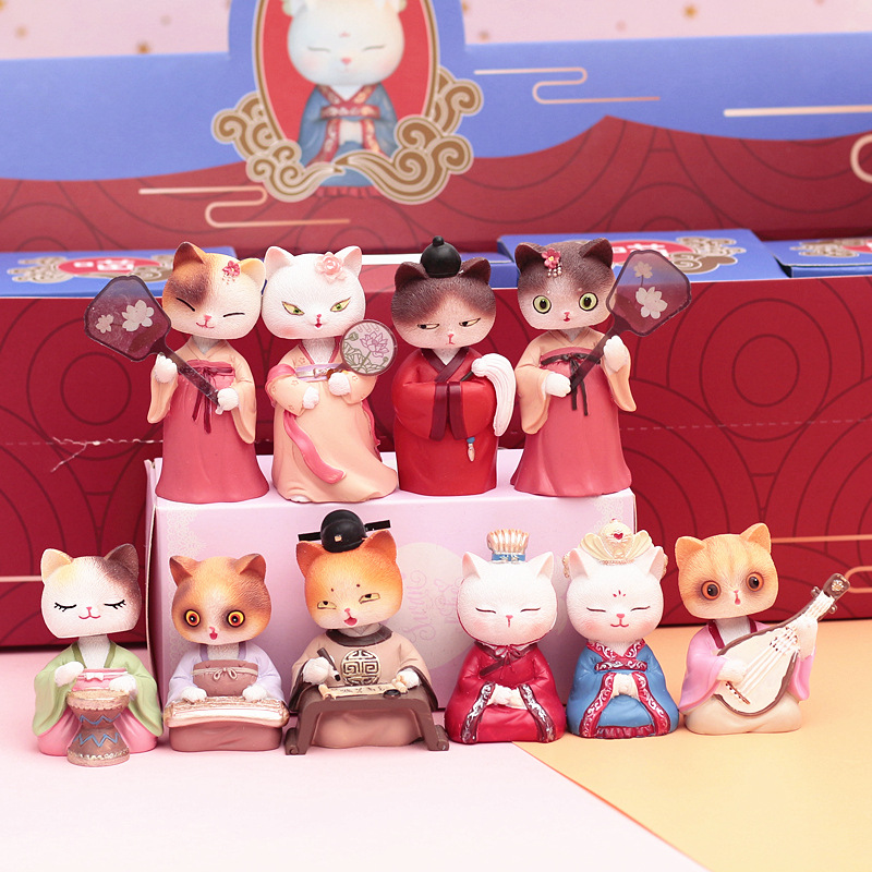 New Car Decoration Decoration Valentine's Day Gift Shaking Head Retro Style Emperor Cat Hanfu Blind Box Desk Decoration