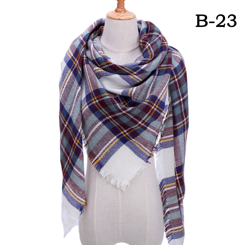 Женский зимний шарф в ретро стиле, кашемировые вязаные пашмины шали, женские мягкие треугольные шарфы, бандана, теплое одеяло, новинка - Цвет: bb23
