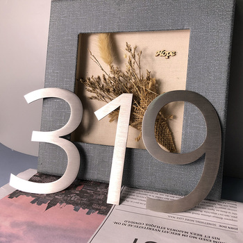 House Numbers Sign 0-9 ABCD Outdoor Waterproof Hotel Stainless Steel Lettre Addresss Door Sign Name Plates image