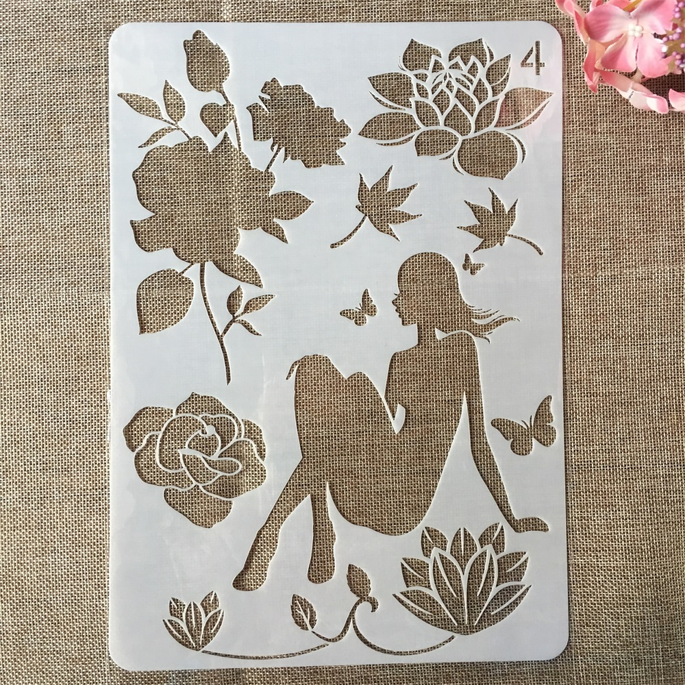 29cm A4 Beautiful Fairy Girl Rose DIY Craft Layering Stencils Painting Scrapbooking Stamping Embossing Album Paper Card Template