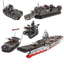 XINGBAO 06016-06020 Cross The Battle Series Battleship Tank Assault Boat Building Blocks Military WW2 Bricks Educational Toys