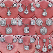 2pcs Pack Trendy Round Crystal 925 Sterling Silver Jewelry Set For Wedding Drop Earring Necklace Pendant Women Gifts J4749