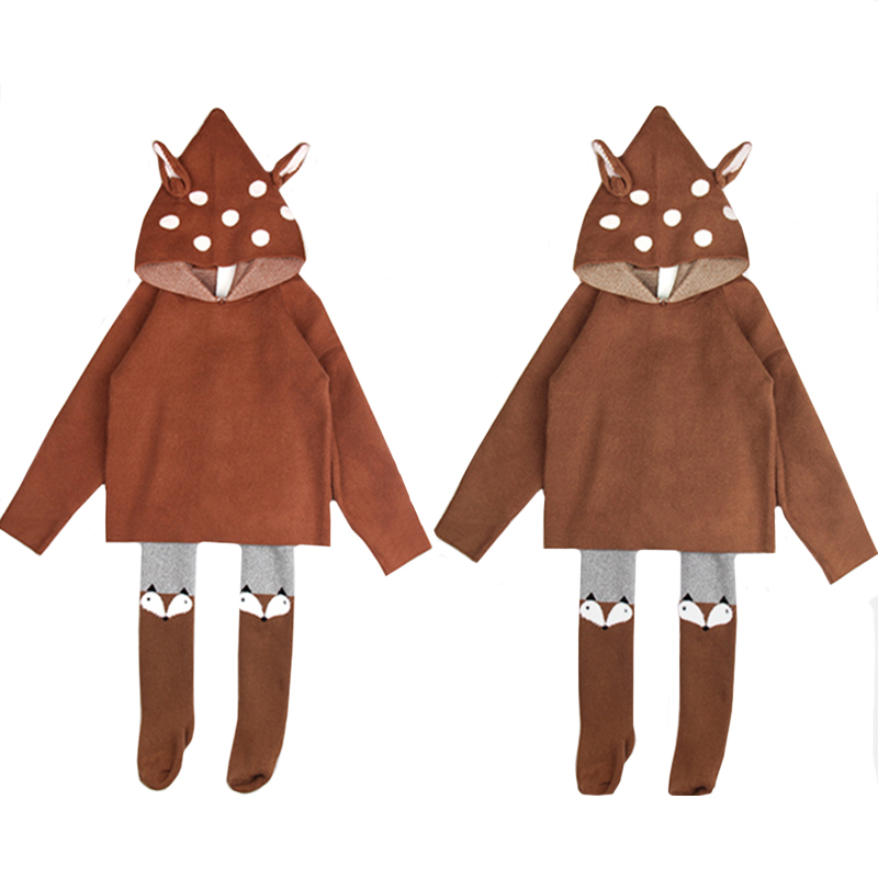 2021 New Kids Girls Knitted Cartoon Sweater Winter Boys Sweater 3D Rabbit Bunny Pullover Baby Girls Winter Clothing 1