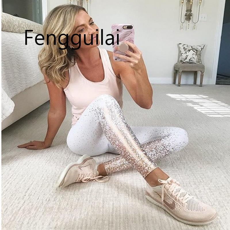 FENGGUILAI New Hotsale Women Black  Rosed Gold Print Leggings High Waist Women Sportwear Clothes Black Fitness Leggins