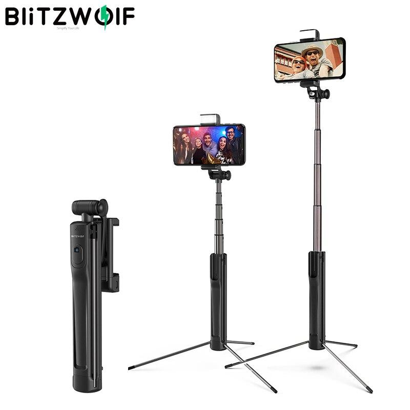 Blitzwolf BW-BS8 LED remplissage lumière Selfie bâton 3 en 1 extensible bluetooth trépied monopode pour iPhone Android téléphone caméra de sport