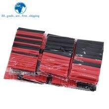 TZT 1set = 150PCS 7,28 m Schwarz Und Rot 2:1 Sortiment Schrumpf Schläuche Rohr Auto Kabel Sleeving wrap Draht Kit