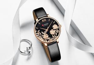 Image 3 - CURREN Uhr Frauen Exquisite Floral Design Uhren Mode Lässig Quarz Dame Uhr frauen Wasserdichte Weibliche Uhren
