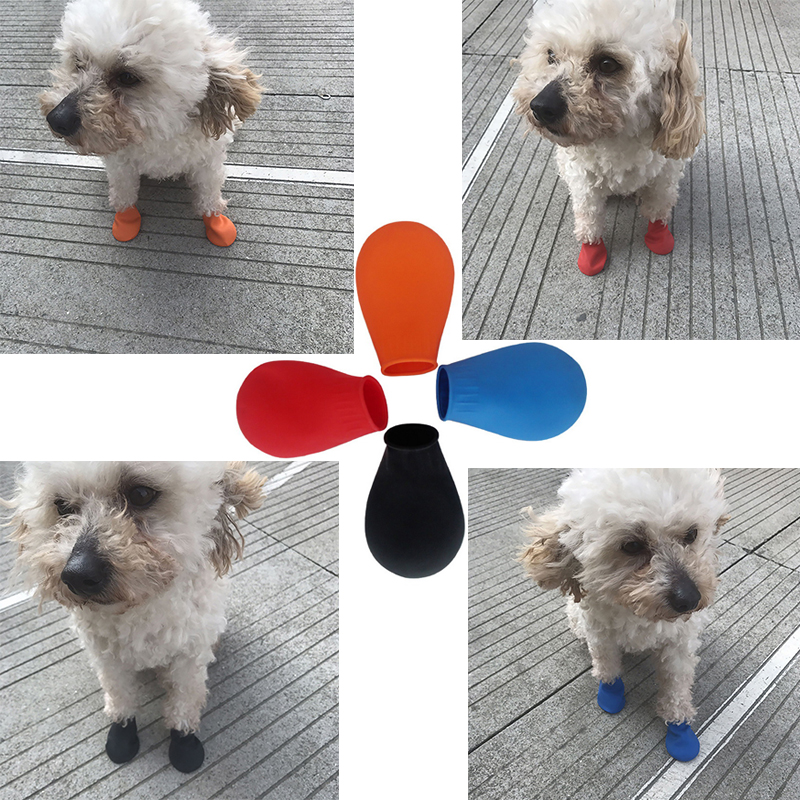 4pcs/set Pets Boots Socks Waterproof Rubber Rain Dog Shoes Non Slip Outdoor Puppies Cachorro Shoes Candy Color