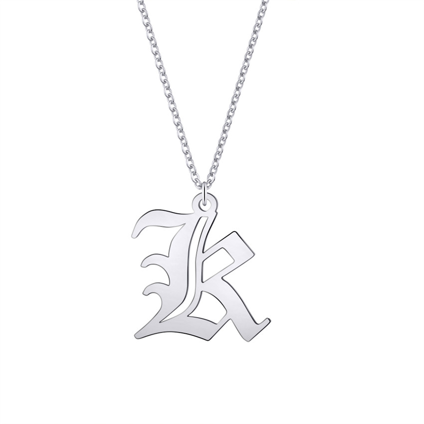 Old English Necklace Personalized Name Jewelry Gold Box Chain Nameplate Choker Best Friends Gift Stainless Steel Necklace Women in Pendant Necklaces from Jewelry Accessories