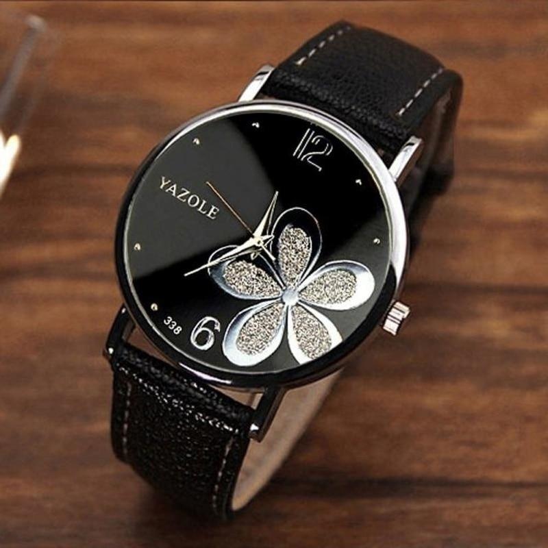 أفضل العلامة التجارية الفاخرة الكلاسيكية المرأة عادية كوارتز حلقة من جلد حزام ساعة مستديرة التناظرية ساعة المعصم