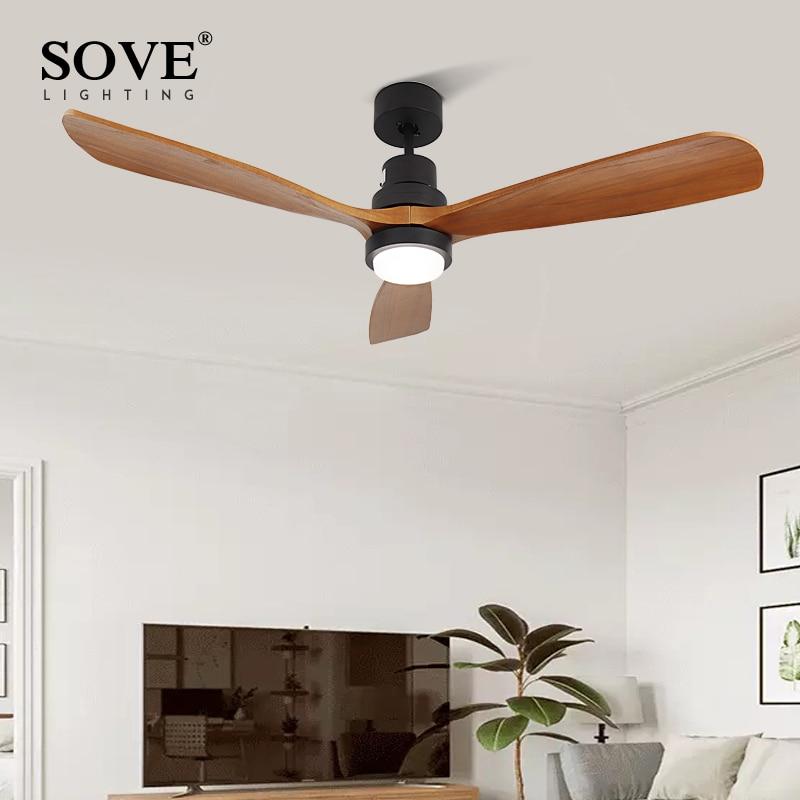 Sove Wooden Ceiling Fans Without Light Bedroom 220v Ceiling Fan Wood Ceiling Fans With Lights Remote Control Ventilador De Teto Big Offer 30b8ab Cicig