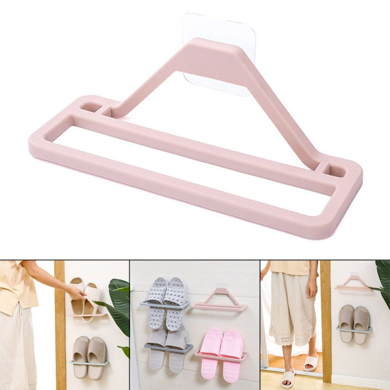 Portable Space saving Slippers Rack Household Living Room Wall Mounted Slippers Towel Hanging Rack Wall Shelf Bathroom Organizer in Storage Holders Racks from Home Garden