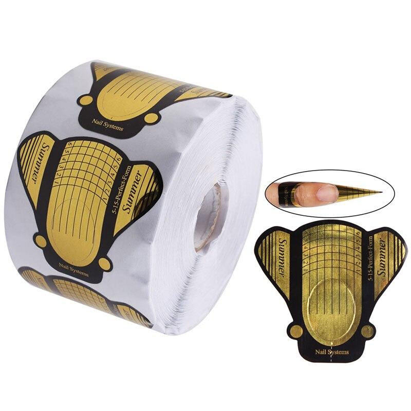 500 pces rolo prego formulario adesivo uv gel arte do prego ponta ferramentas guia de