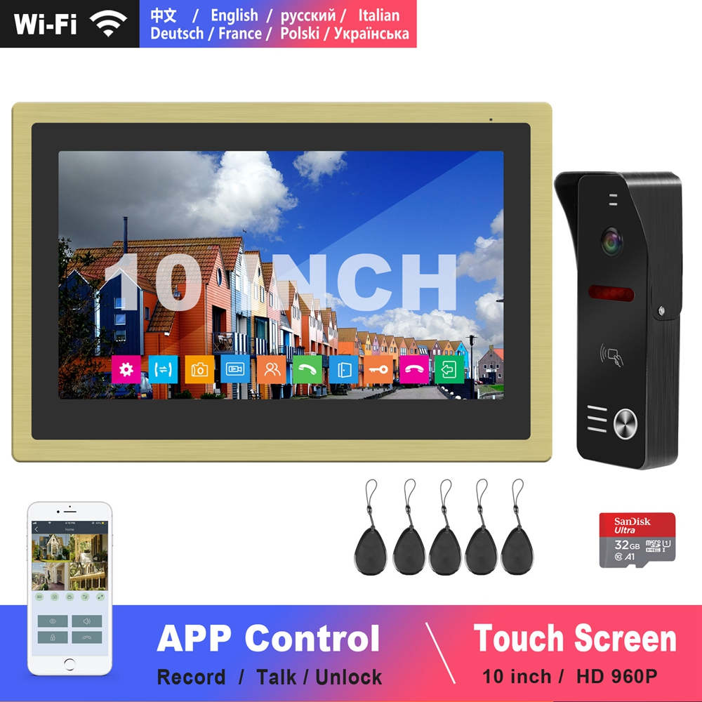 Diagonsview 10 Inch Video Intercom Wifi Intercom Wireless IP Phone-Intercom System HD Door Intercom Camera  Swiping Cards Unlock