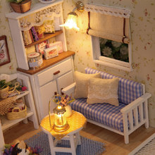 Doll House Miniature Gift Children LED Light Wooden Assembling Toy DIY Kit Furniture(China)