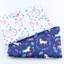 Tela impressa da sarja do algodão do unicórnio 100% para a criança do bebê, pano feito à mão do retalhos, costurando a tela estofando dos materiais da folha de cama