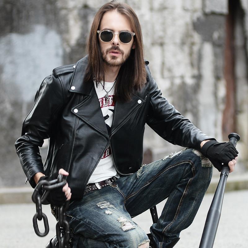 YR!Free Shipping.sales.Classic Motor Biker Style Cowhide Jacket,man Fashion Slim Genuine Leather Coat.plus Size.black