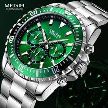 MEGIR Mens Chronograph Quartz Watches Stainless Steel Waterproof Lumious Analogue 24 hour Wristwatch for Man Green Dial 2064G 9