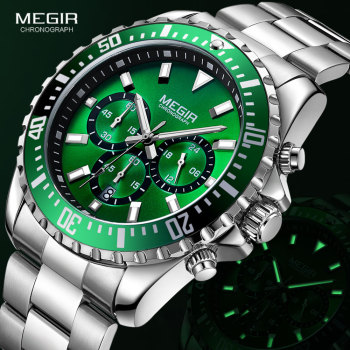 MEGIR Men's Chronograph Quartz Watches Stainless Steel Waterproof Lumious Analogue 24-hour Wristwatch for Man Green Dial 2064G-9 Accessories Jewellery & Watches