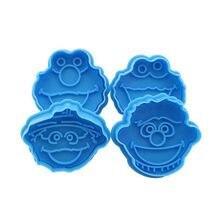 4 pçs/set crianças muppet cortador de biscoito êmbolo de biscoito bolo fondant elmo ernie monstro bolos decoração