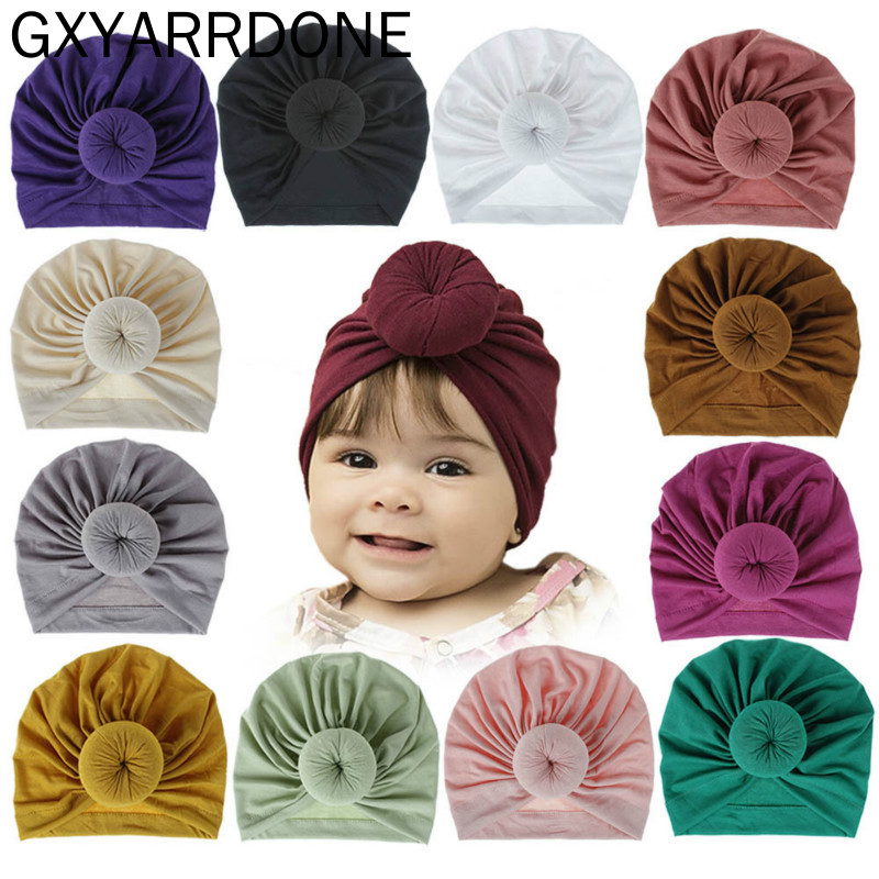 2019 Baby Girl Cotton Turban Top Donut Hat Toddler Kids Bebe India Beanie Cap Lovely Soft Newborn Headwear Haar Accessories