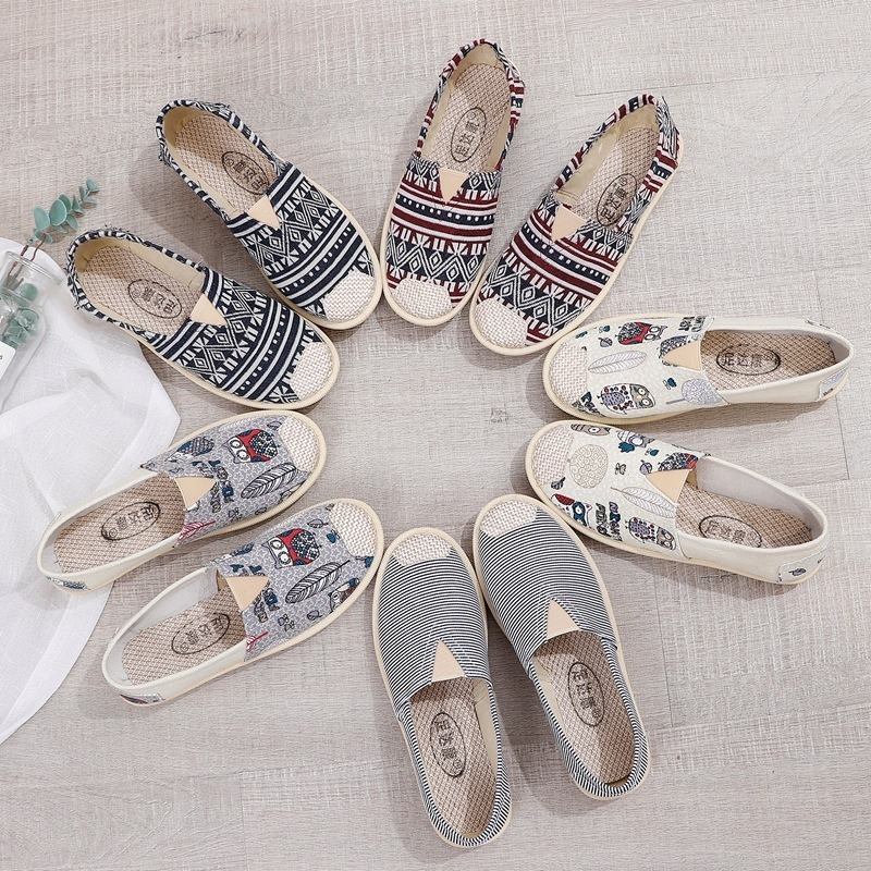 Women Colorful Canvas Flat SHOS Soft Sole Comfortable Fisherman Shoes Lady Cartoon Casual Spring Summer Autumn Cloth Flats S073
