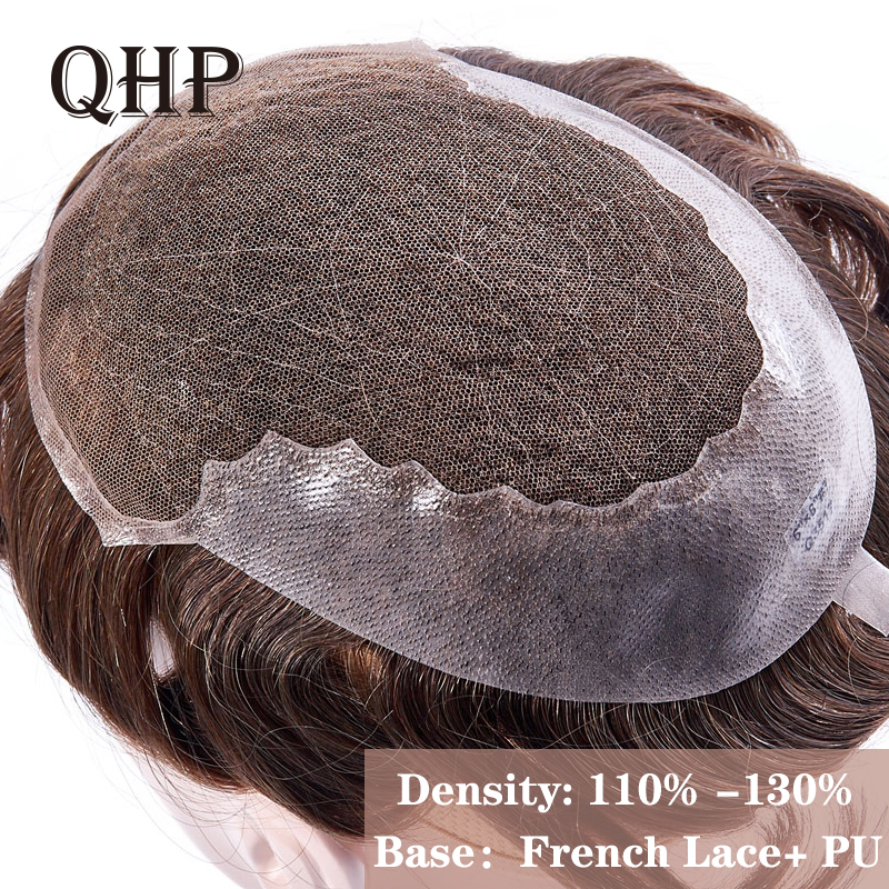 Human Hair Toupee For Men  French Lace With PU Wig Hairpieces Indian Natural Remy Hair 6inch Mens Toupee