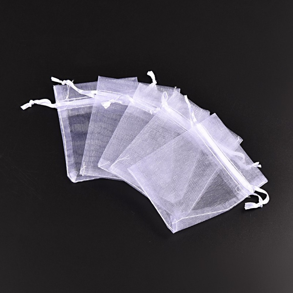 100pcs 7x9CM Rectangle Organza Bags Jewelry Packaging Bags Wedding Party Decoration Drawable Bags Gift Pouches White