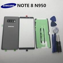 NOTE8 yeni orijinal Samsung Galaxy NOTE 8 için N950 N950F arka cam arka pil kapağı kapı + ön cam Lens + yapıştırıcı + araçları