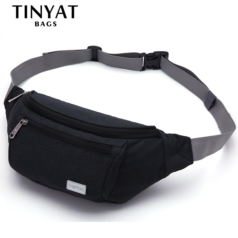 TINYAT Men Waist Bag Pack Travel Phone Belt Bag Pouch for Men Women Casual Shoulder Crossbody Canvas Bag for Belt Uni Hip Bag