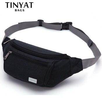 TINYAT Men Waist Bag Pack Travel Phone Belt Bag Pouch for Men Women Casual Shoulder Crossbody Canvas Bag for Belt Unisex Hip Bag
