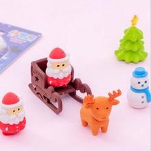 Gommes à thème de renne pour enfant, fournitures de papeterie pour le jour de noël, fournitures correctrices en caoutchouc, jouet pour fille, cadeau, 6 pièces