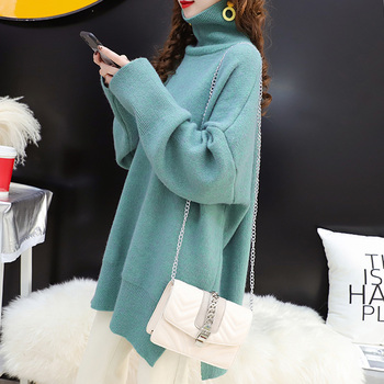 Casual Loose Autumn Winter Turtleneck Sweater Women Oversize Solid Knitted Sweaters Warm Long Sleeve Pullover Sweater Black 2018 brand fashion autumn winter warm sweater long sleeve elastic sweater female pullover turtleneck knitted sweaters tops xnxee