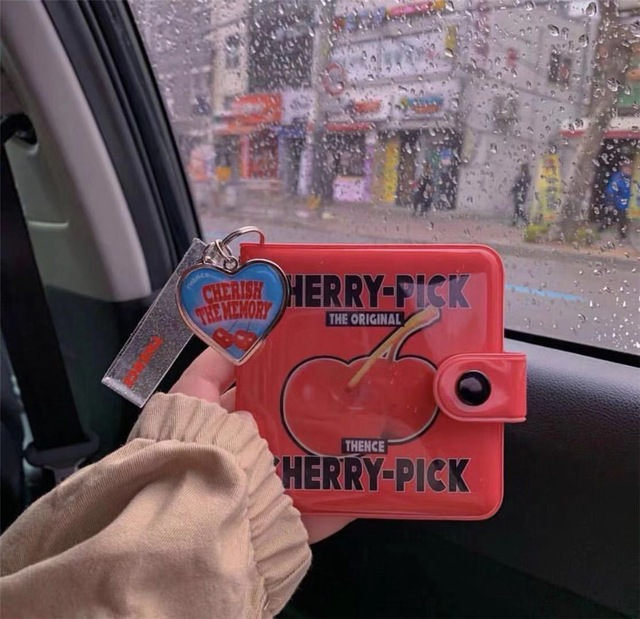 Bentoy Korea Red Cherry Short Wallet For Girls Cute Jelly Heart Bag Pendant Card Holder Case Bag Women Kawaii Small Mini Wallets