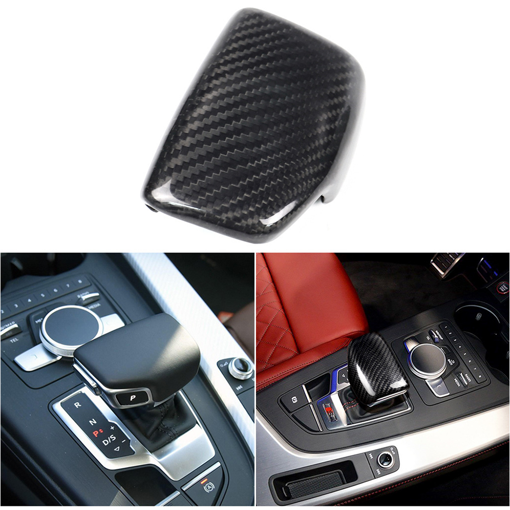 Real Carbon Fiber For AUDI A4 S4 RS4 B9 A5 S5 RS5 Q5 Q7 2016 2017 2018 2019 AT Car Styling Gear Shift Knob Head Cover Trim LHD-in Car Stickers from Automobiles & Motorcycles
