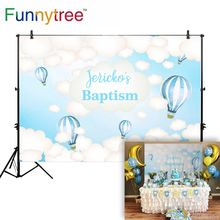 Funnytree hot air balloon background communion sky cloud photography 1st birthday backdrop photo studio party photophone custom paper cloud colour balloon blue sky bird photo studio background vinyl cloth high quality computer printed birthday backdrop