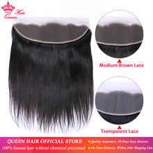 Queen Produk Brasil Perawan Lurus 13X4 Transparan Renda Frontal Penutupan 100% Rambut Manusia Medium Brown Swiss Renda(China)