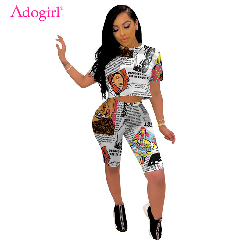 GRMO Women Short Sleeve Loose Letter Print 2 Piece Shorts Tracksuit