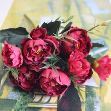 Artificial Silk Fake Flowers Plum Blossom Plants Flower Peony Bridal Rose Bouquet Floral Wedding Party Decor For Home indoor linman high quality1bunch european artificial flower fake peony bridal bouquet for christmas wedding party home decorative