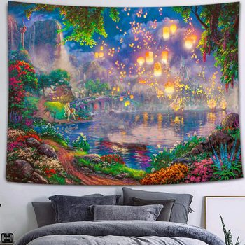 Simsant Mushroom Forest Castle Tapestry Fairytale Trippy Colorful Butterfly Wall Hanging Tapestry for Home Dorm Fantasy Decor 44