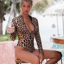 Swimsuit Long-Sleeve Leopard Onepiece Women Snake Zipper Print Padded High-Leg