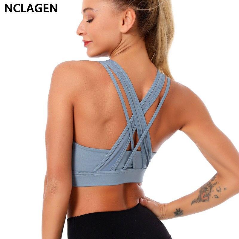 Sport-Bh Gepolstert Hohe Unterstützung Crop Top Frauen Push-Up Ausbildung Solide Yoga Bh Auswirkungen Fitness Gym Vest Workout Unterwäsche NCLAGEN