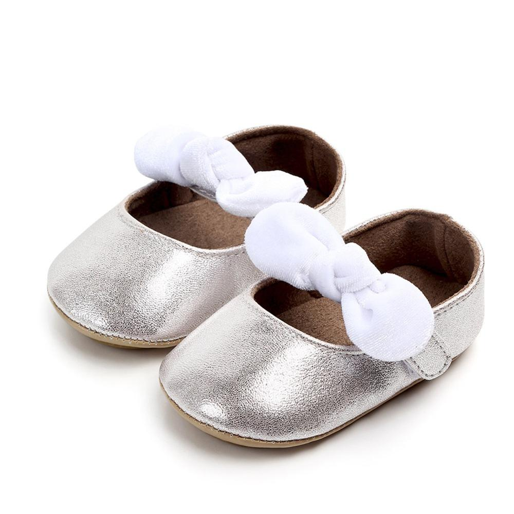 Newborn Baby Sequin Shoes Moccasins Newborn Girls Baby Pu Leather Shoes Anti Slip First Walkers With Bow Red Black Silver