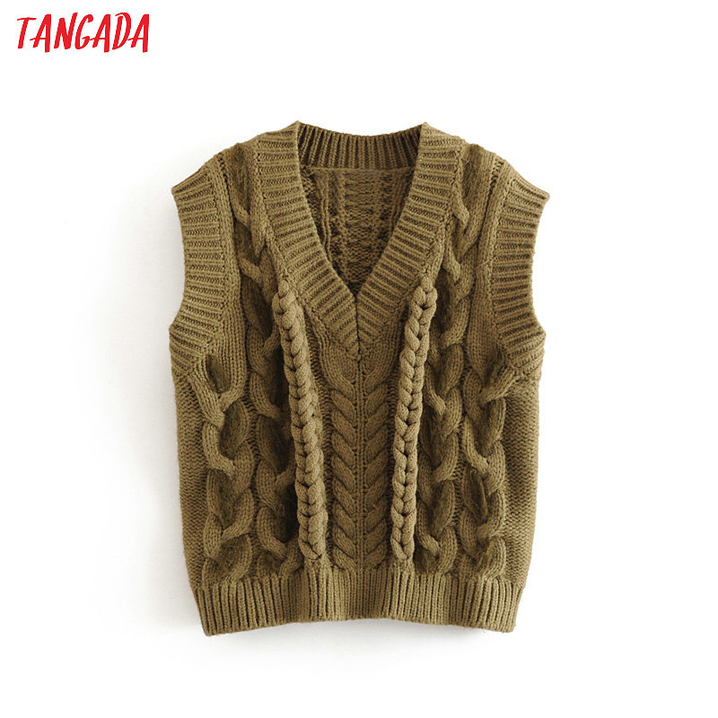 Tangada Women Green Twist Knitted Sweaters Sleeveless Vintage Lady Fashion Pullovers Winter Thick Stylish Tops 3H403