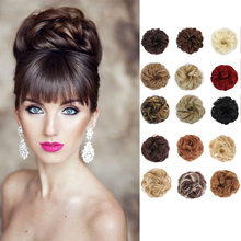 Chignon Hairpiece Curly-Extension-Ring Synthetic-Hair-Bangs Scrunchies Messy Bun Blond