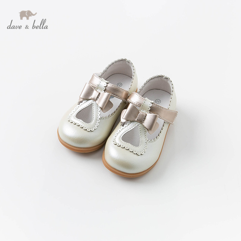 DB13741 Dave Bella Spring Baby Girl Bow Leather Shoes Children Brand Shoes