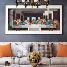 Affiche créative de la Vague de Leonardo de Vinci le dernier dîner, peinture murale sur toile, Art pour décoration de salon