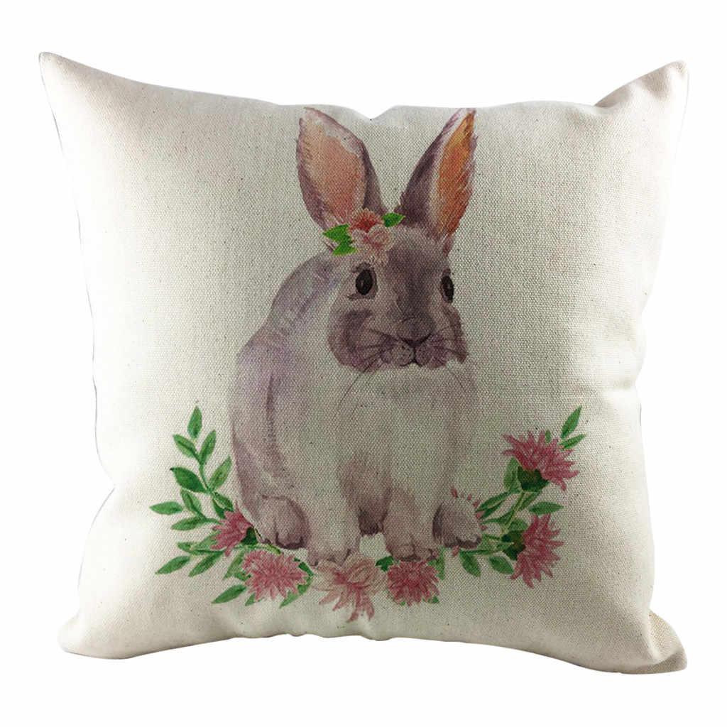 وسادة غطاء عيد الفصح ل أريكة سرير سيارة المنزل الديكور مهرجان الأرنب 45x45 سنتيمتر لينة المخدة غطاء الوسادة Housse دي koosin