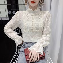 Lace Bottomed Blouse Women's Spring New Temperament Fashion Half High Collar Wooden Ear Edge Flared Sleeve Mesh Top Lady Shirts