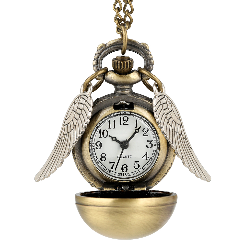 Antique Golden Angel Wing Quartz Pocket Watch Women Cute Ball Pendant Watches Necklace Chain Gift Kids Alice Wonderland